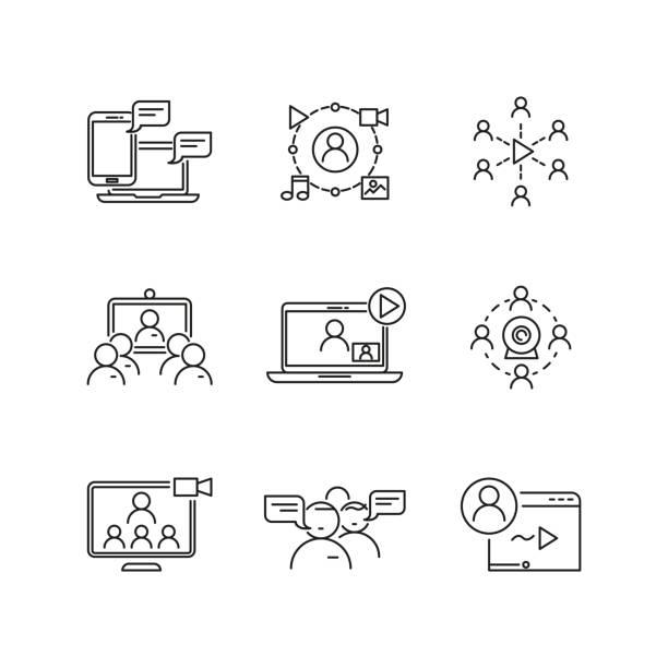 ilustrações de stock, clip art, desenhos animados e ícones de o webinar e comunicação vector linear ícones - video call