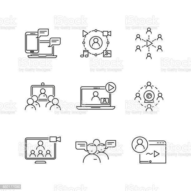 O Webinar E Comunicação Vector Linear Ícones - Arte vetorial de stock e mais imagens de A usar um telefone