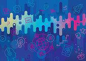 Vibrant flat background depicting webinar including outline icons set.