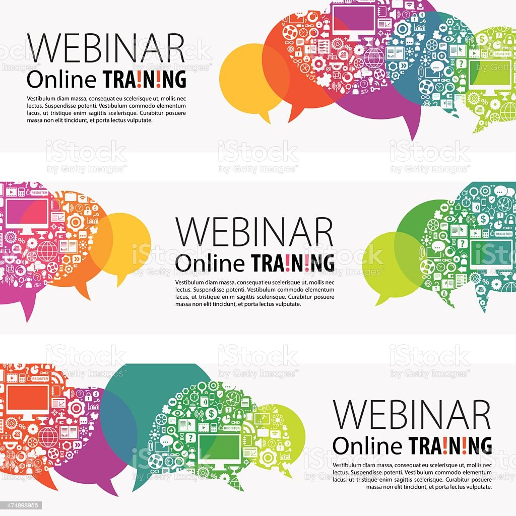 Webinar Banners And Icon Set vector art illustration