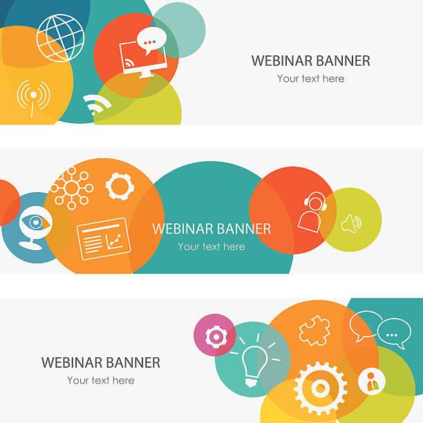 ilustrações de stock, clip art, desenhos animados e ícones de webinar sobre banners - fundo oficina
