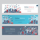 Webinar banners with city panorama and icons. Nicely layered.