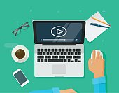 istock Webinar concept, online training, education on computer, e-learning workplace 580108504