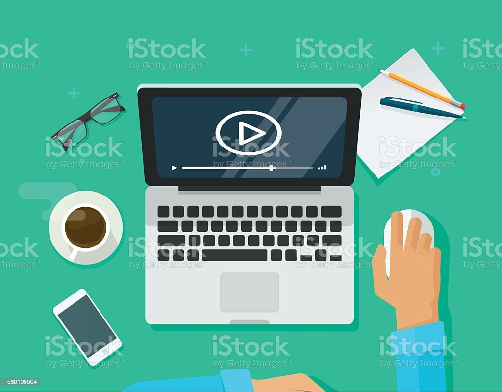 Webinar concept, online training, education on computer, e-learning workplace vector art illustration