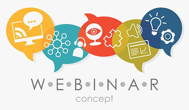 ilustrações de stock, clip art, desenhos animados e ícones de webinar sobre conceito - webinar