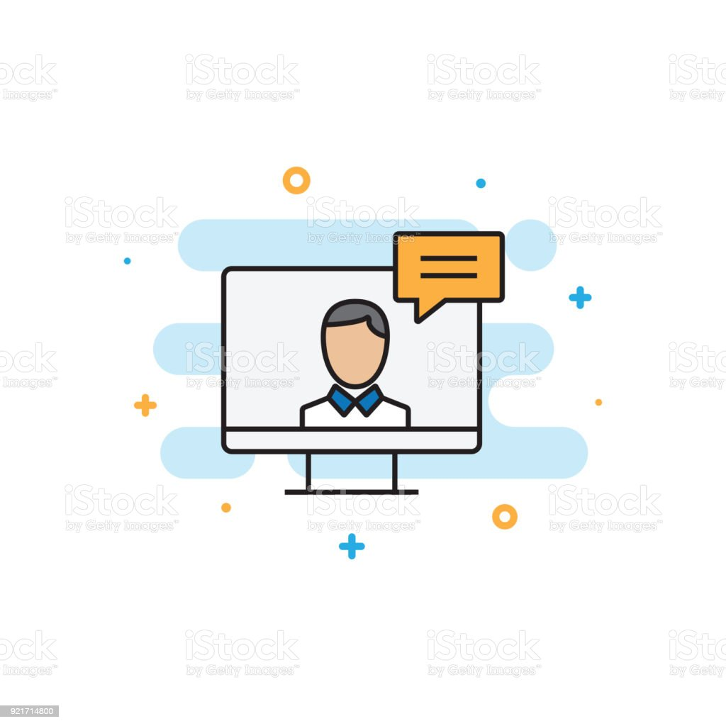 Webinar Flat Line Icon Stock Illustration - Download Image ...