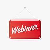 Webinar hanging sign on white background. Sign for door. Vector stock illustration.