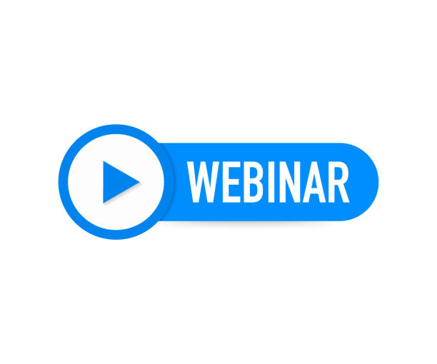 webinar-symbol, flachen design-stil mit blauen play-button. vektor-illustration. - webinar stock-grafiken, -clipart, -cartoons und -symbole
