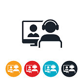 An icon of a webinar instructor presenting an online class or training.