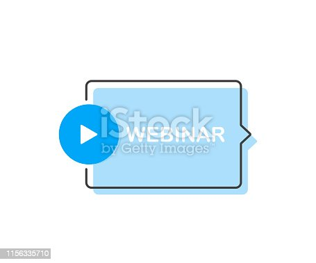 Webinar Icon, with play button. Modern flat style vector illustration.