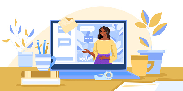 Webinar illustration with young black tutor training online, laptop screen, home workplace.