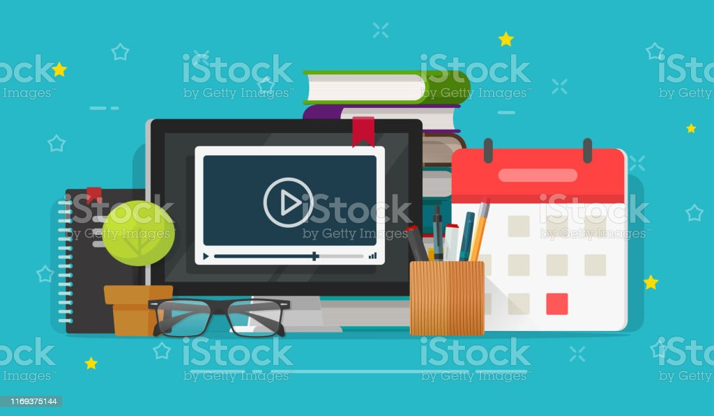 Webinar learning or video watching on computer screen vector...