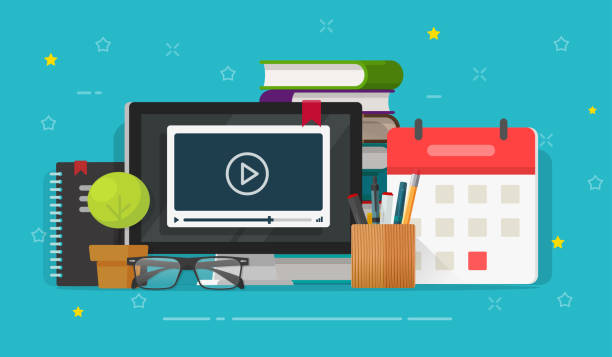 Webinar learning or video watching on computer screen vector illustration, flat cartoon working table desk and education stuff, idea of online courses or internet study, school or student workplace vector art illustration