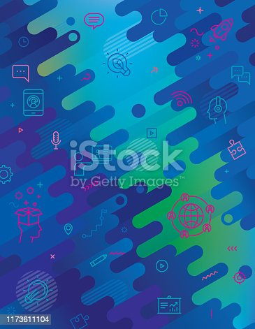 Abstract background and webinar line icons set.
