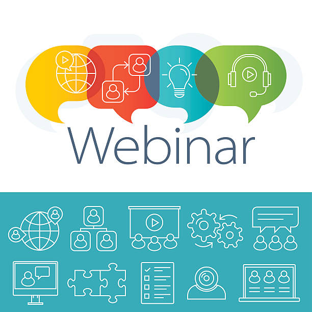 webinar logo plus outline icons set - webinar stock-grafiken, -clipart, -cartoons und -symbole
