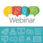 Webinar Logo Plus Outline Icons Set