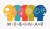 Webinar Sign concept, created from overlapping stylized heads + webinar related outline icons. EPS 10, no transparencies used. Used typography Century Gothic.