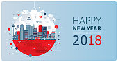 New Year greeting card depicting webinar. Nicely layered.