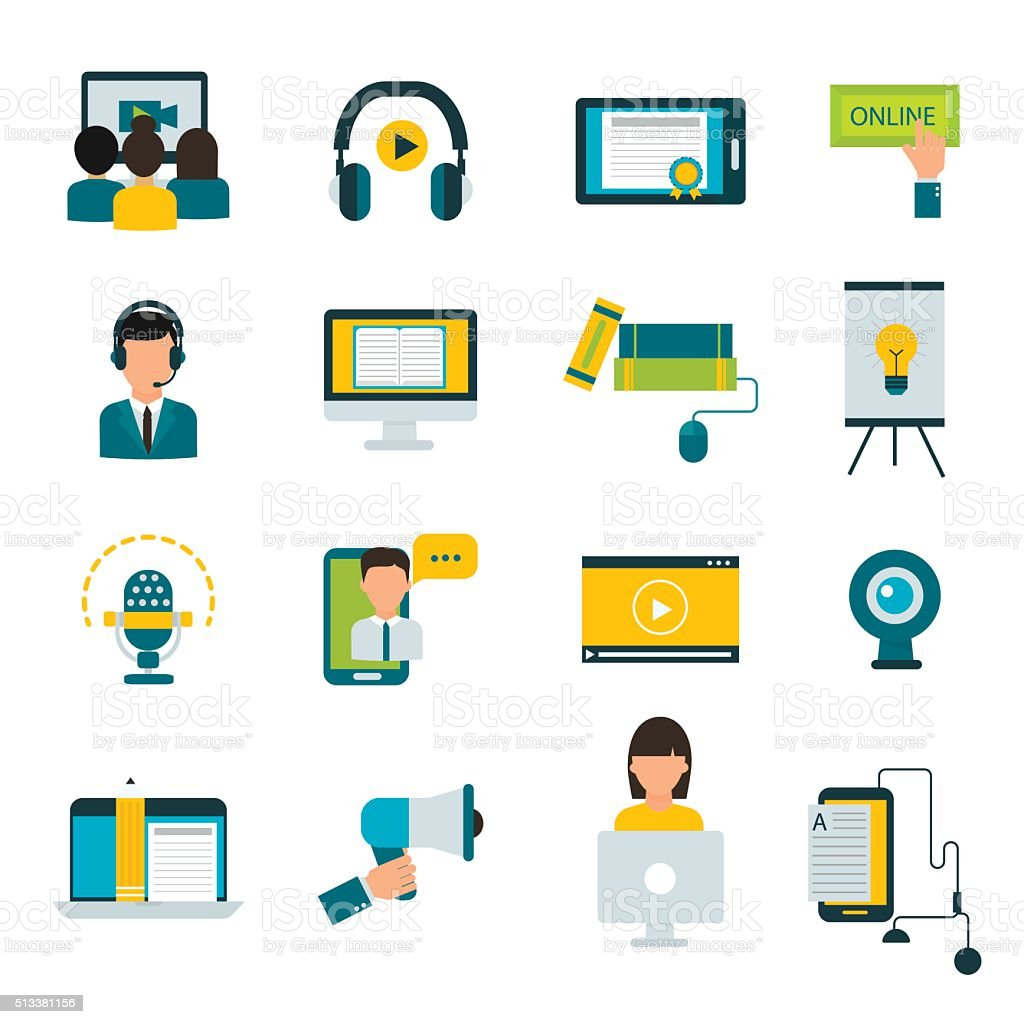 Webinar online education flat icons vector set vector art illustration