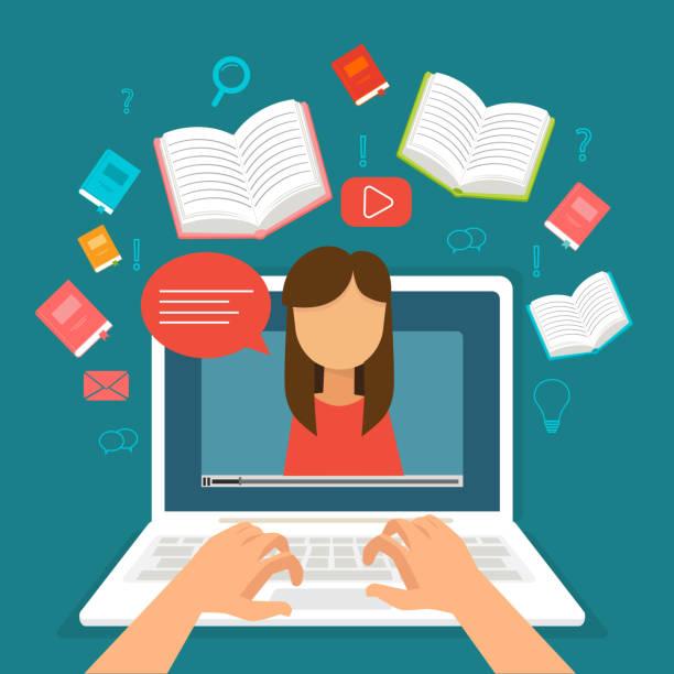 stockillustraties, clipart, cartoons en iconen met webinar opleiding, online onderwijs op video blog concept, vectorillustratie - youtube