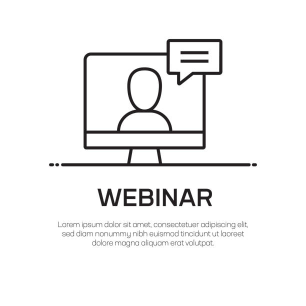 webinar vector line icon-simple thin line icon, premium quality design element - webinar stock-grafiken, -clipart, -cartoons und -symbole
