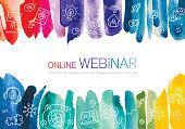 Line icons set depicting online webinar randomly placed on vibrant watercolor brush strokes background. Each brush stroke is isolated as one object.