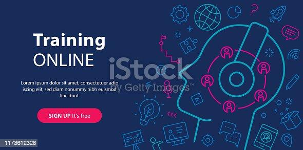 Website banner depicting training online.