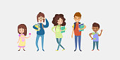 istock WebKids of Different Ages. Character set in cartoon flat style. 1312490870