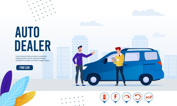 Webpage Banner Advertising Modern Dealer Service Webpage Banner Advertising Modern Auto Dealer Online Service. Find Ecological Green Electric Car for Purchase, Sharing or Rent. Cartoon Customer and Salesman Agent Agreement. Vector Flat Illustration car salesperson stock illustrations