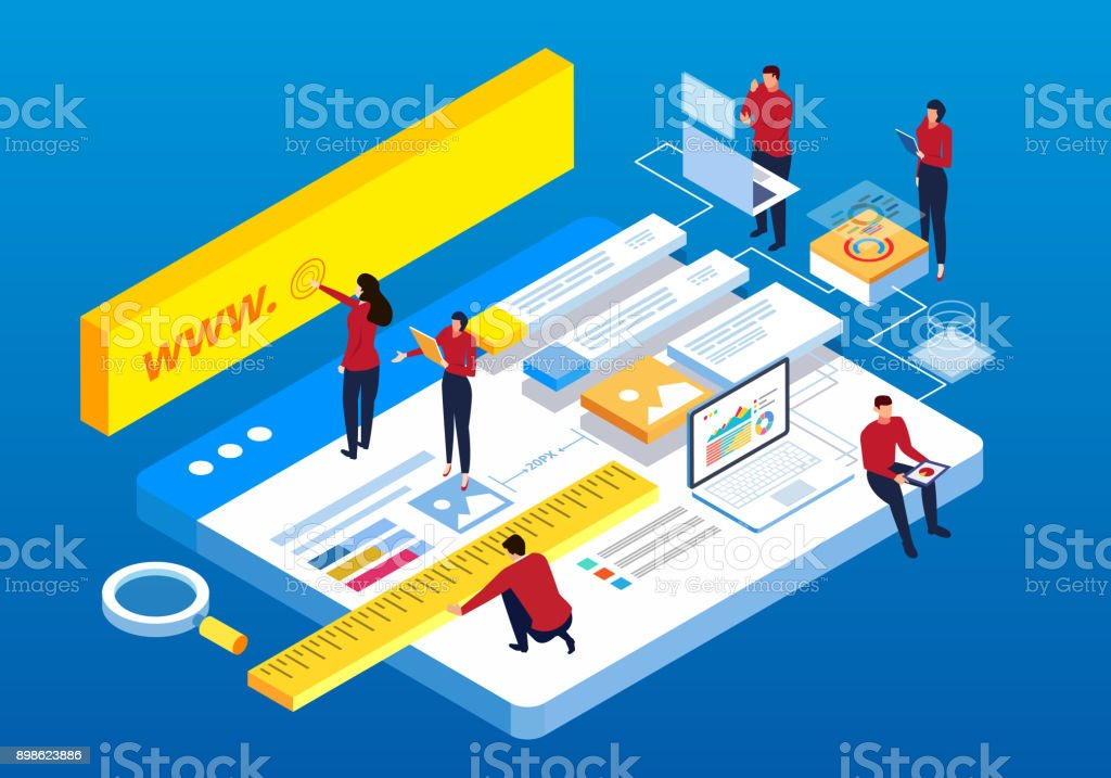 Webpage building and software technology development vector art illustration
