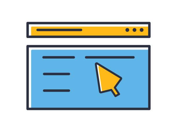 bildbanksillustrationer, clip art samt tecknat material och ikoner med ikon för webbsida. markören på en webbsida isolerad på vit bakgrund. designelement färgade. kan användas för mobila koncept och webbapplikationer, sociala nätverk. platt stil vektor illustration. - chain studio