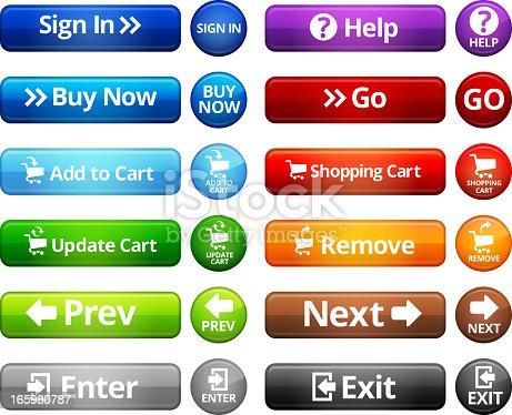 Webpage Navigation Internet Buttons vector set