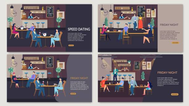 webpage set for organization rest time after work - date night stock illustrations