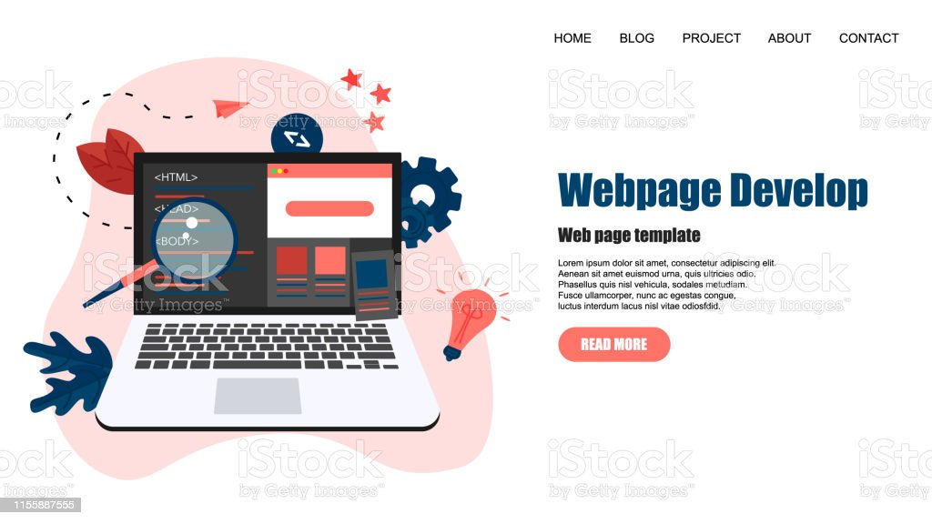 Webpage Template Creative Webpage Development And Web Design Concept Stock Illustration Download Image Now Istock