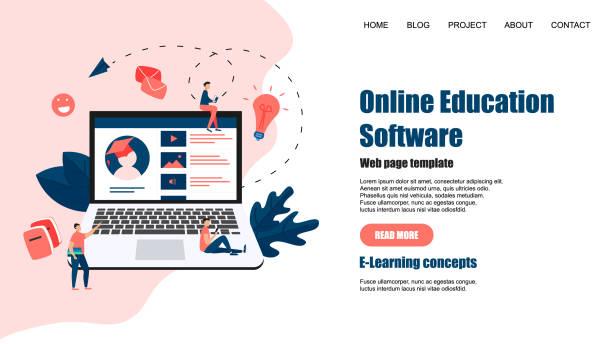 stockillustraties, clipart, cartoons en iconen met webpaginasjabloon. online onderwijs app. e-learning concept - e learning