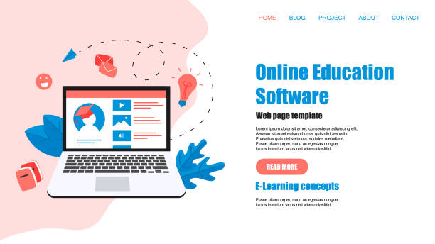 stockillustraties, clipart, cartoons en iconen met sjabloon voor webpagina's. online onderwijs app. e-learning concept - e learning