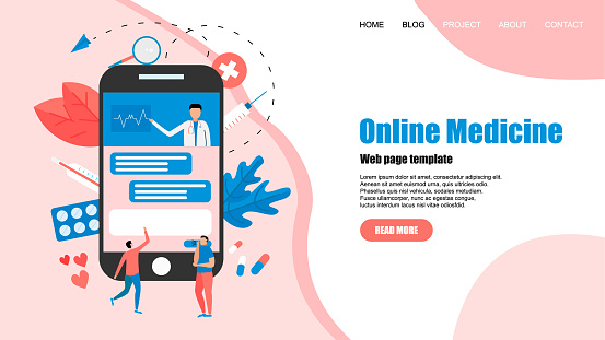 Webpage template. Online healthcare and medical consultation concept. Vector flat illustration