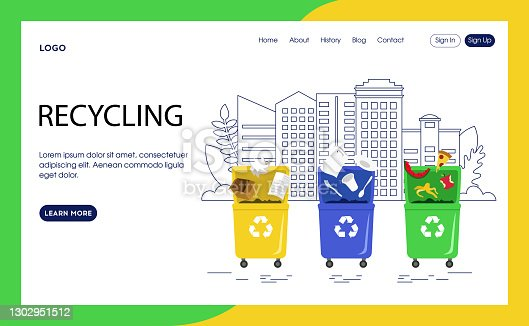 istock Webpage Template Vector Illustration In Flat Cartoon Style. Interface Composition. Recycling Concept On White Background With Text And Buttons. Three Garbage Bins With Signs. Environment Protection 1302951512
