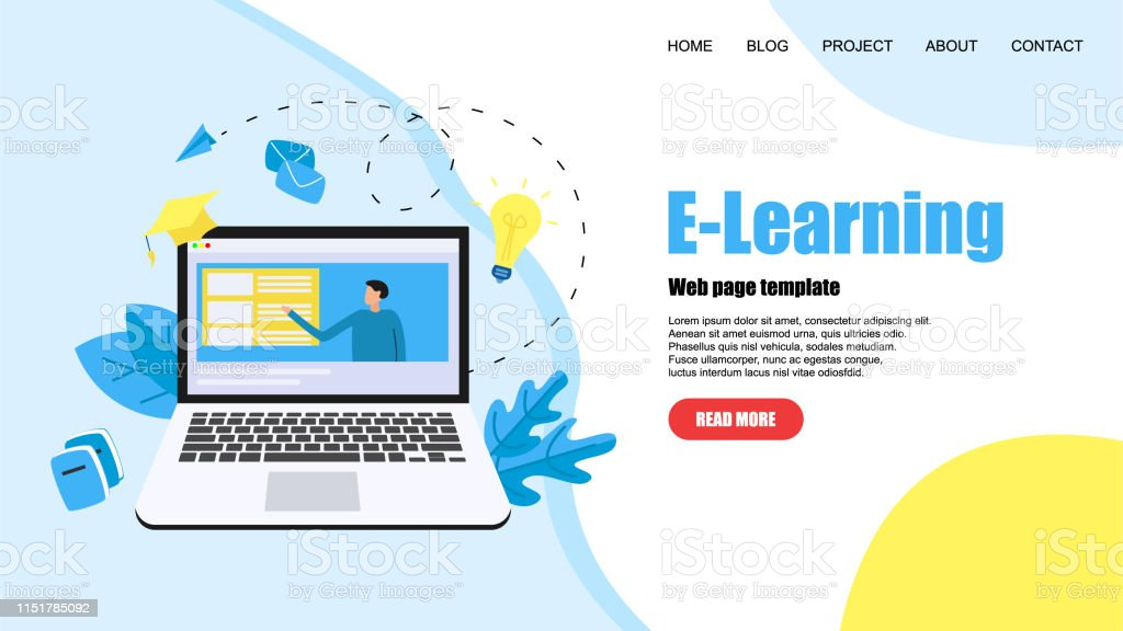 Webpage Template With Online Education Or Web Course With