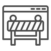 Webpage under construction line icon. Window browser with attention fence. Internet technology vector design concept, outline style pictogram on white background, use for web and app. Eps 10
