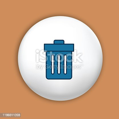 Thin Line Icon - Website UI Symbol on a shiny button - Trashcan