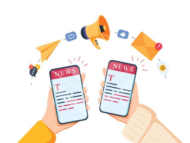 WebReading News auf dem Konzept des mobilen Geräts. Vector einer Hand, die Smartphone mit News-Website hält. – Vektorgrafik