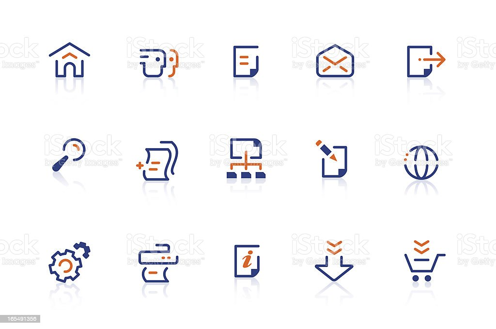 Website & Internet icons | blue and orange royalty-free stock vector art