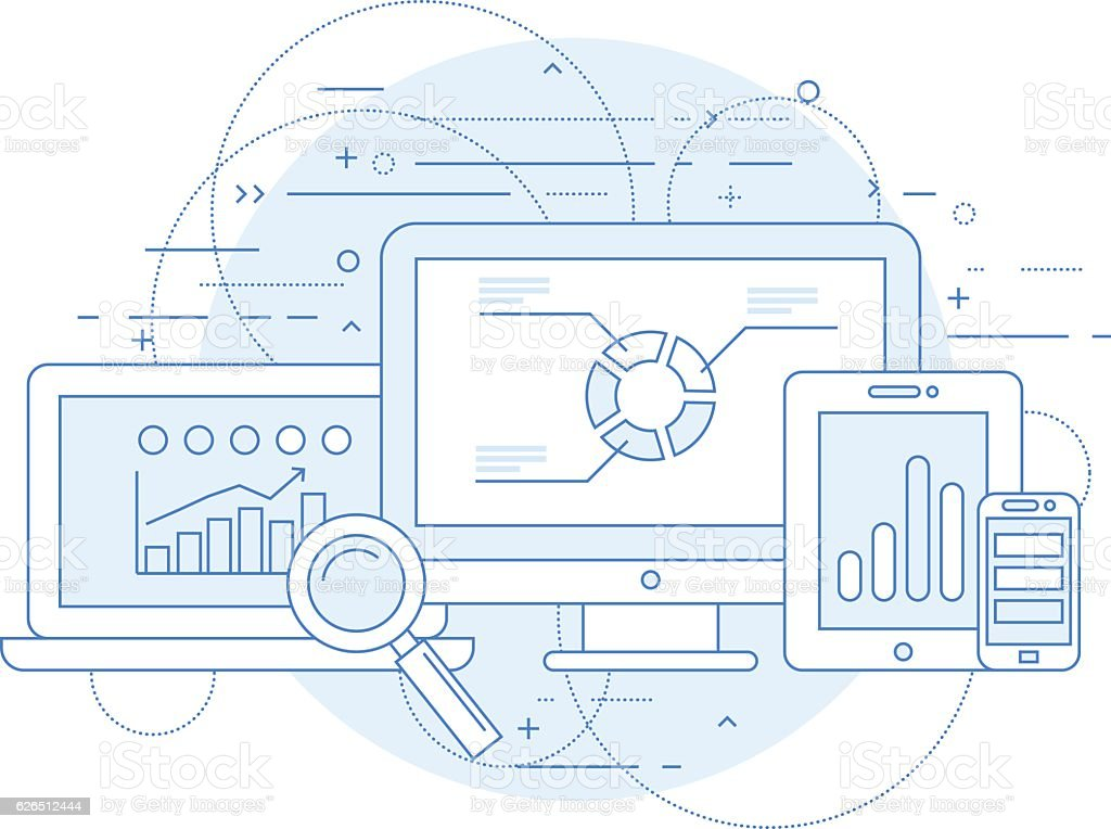 Website analytics and online marketing research abstract design vector art illustration