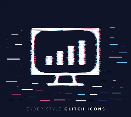 Website Analytics Glitch Effect Vector Icon Illustration