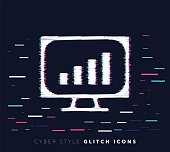 Glitch effect vector icon illustration of website analytics with abstract background.