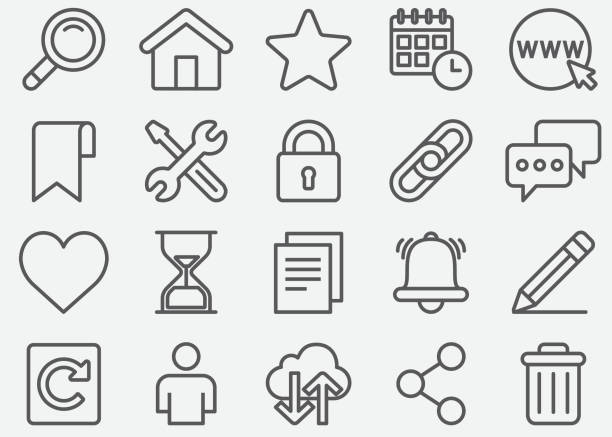 Website and Homepage Line Icons Website and Homepage Line Icons locking stock illustrations