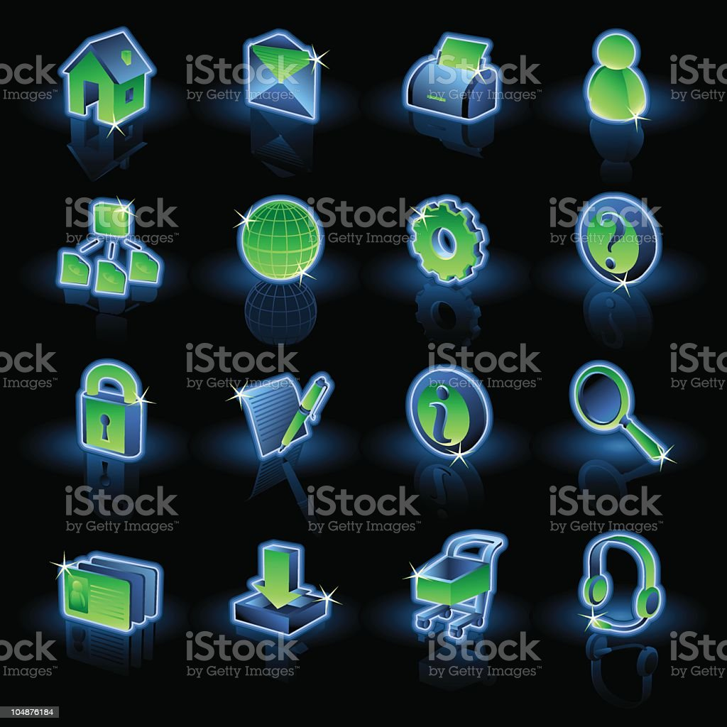 Website and Internet Icons 1 | Neon royalty-free website and internet icons 1 neon stock vector art & more images of assistance