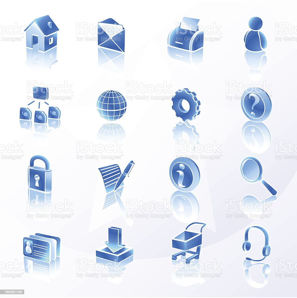 Website and Internet Icons | Blue royalty-free stock vector art