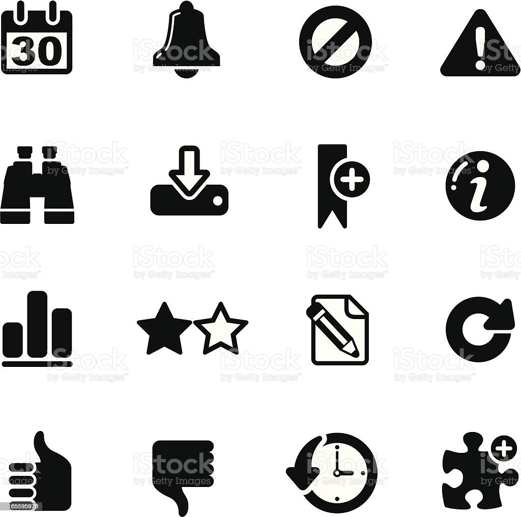 Website and internet icons on black and white royalty-free stock vector art